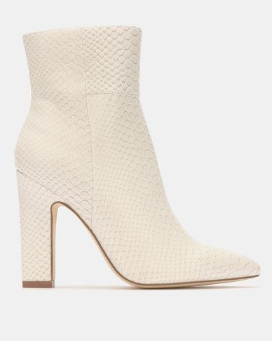Madison Joan  Block Heel Ankle Boots White