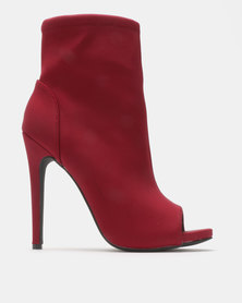 Madison Spencer Peep Toe Ankle Boots Burgundy