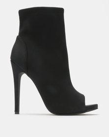 Madison Spencer Peep Toe Ankle Boots Black