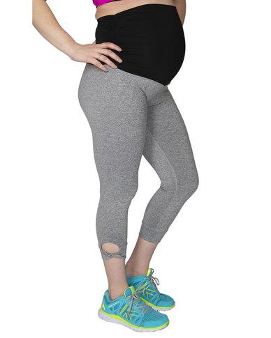 Fit Mama, Uber Comfort Yoga 3/4 Leggings, Grey Melange
