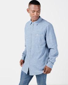 Kakiebos Long Sleeve Crosshatch Denim Shirt Stonewash Blue