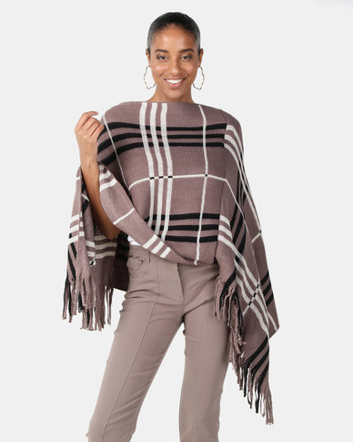 Joy Collectables Check Print Poncho Beige