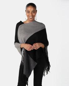 Joy Collectables Colour Block Poncho Black/Grey