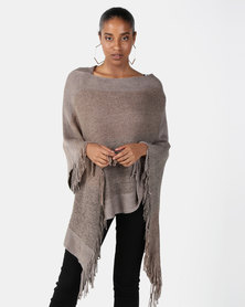 Joy Collectables Fringed Poncho Beige