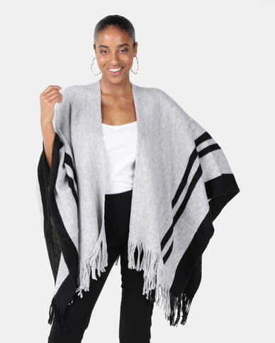 Joy Collectables Stripe Border Poncho White/Black
