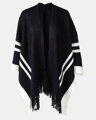 Joy Collectables Stripe Border Poncho Grey/Black
