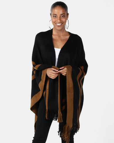 Joy Collectables Stripe Border Poncho Black/Camel