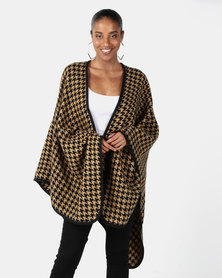 Joy Collectables Dogtooth Print Poncho Camel