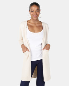 Joy Collectables Mid Length Cardigan With Pockets Beige