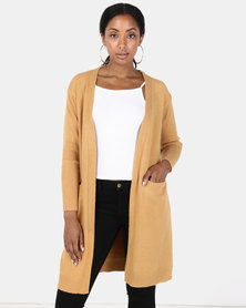 Joy Collectables Mid Lengh Cardigan With Pockets Mustard