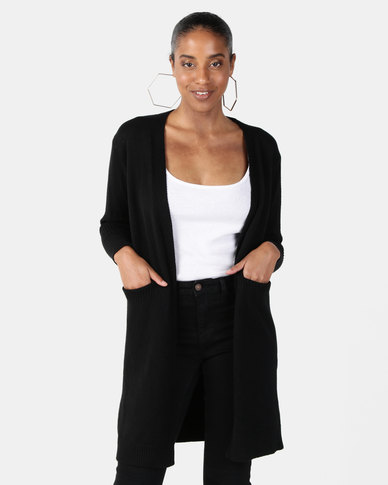 Joy Collectables Mid Length Cardigan With Pockets Black