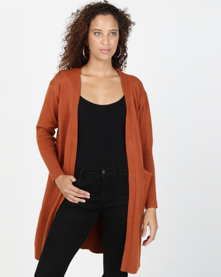 Joy Collectables Mid Length Cardigan With Pockets Rust