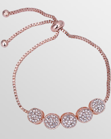 Btime Rose Gold Bracelet With Round Crystal Embedded Charms