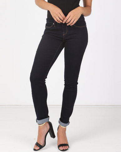 Utopia Basic Dark Wash Skinny Jeans Blue