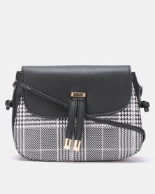 Joy Collectables Tasselled Check Cross Body Bag Black