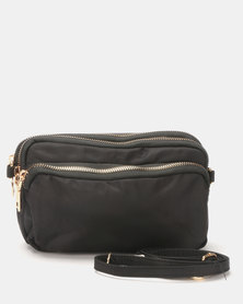 Joy Collectables Tri-Zip CrossBody Bag Black