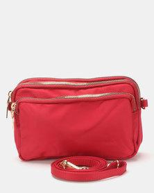 Joy Collectables Tri-Zip CrossBody Bag Deep Red