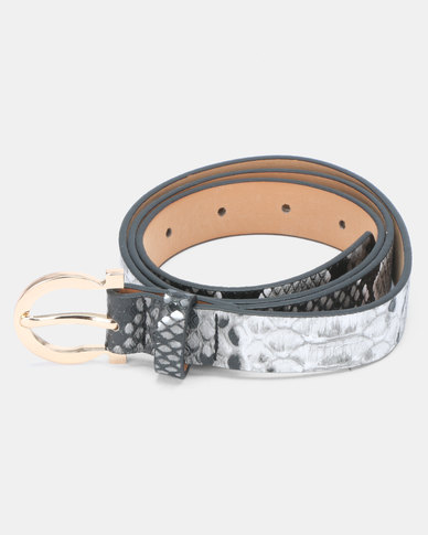 Joy Collectables Faux Snake Skin Belt Grey