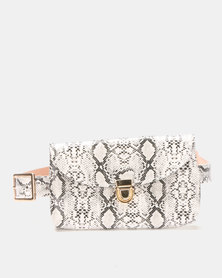 Joy Collectables Faux Snake Skin Belt Bag Grey