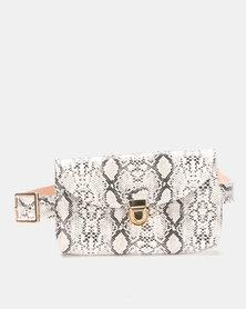 Joy Collectables Faux Snake Skin Belt Bag Grey