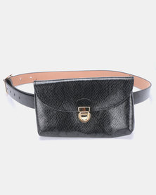 Joy Collectables Faux Snake Skin Belt Bag Black