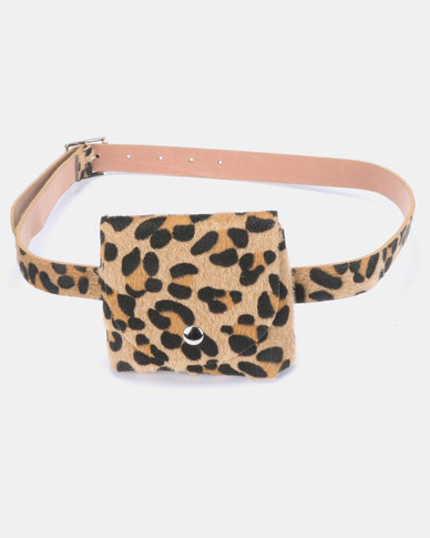 Joy Collectables Leopard Print Belt Bag Natural