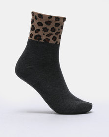 Joy Collectables 5 Pack Leopard Border Socks Multi