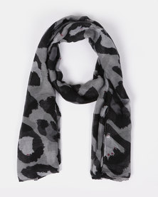 Joy Collectables Large Leopard Print Scarf Grey