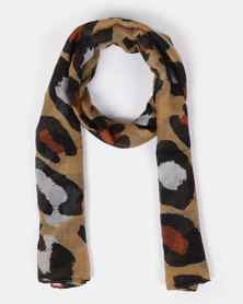 Joy Collectables Large Leopard Print Scarf Tan