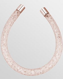 Btime Rose Gold Mesh Bracelet With Clear Austrian Crystals