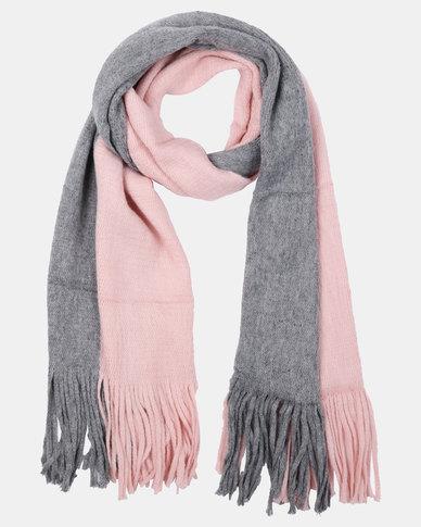 Joy Collectables ColourBlock Blanket Scarf Pink/Grey
