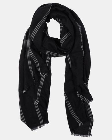 Joy Collectables Striped Blanket Scarf Black