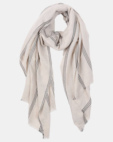 Joy Collectables Striped Blanket Scarf Ivory