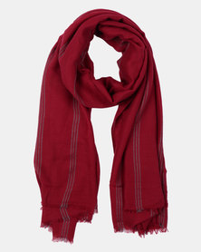Joy Collectables Striped Blanket Scarf Red