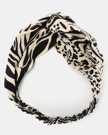 Joy Collectables Animal Print Head Band Beige