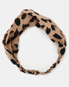 Joy Collectables Animal Print Head Band Brown and Black