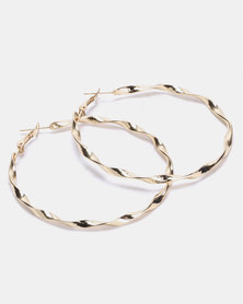 Joy Collectables Twist Hoop Earrings Gold
