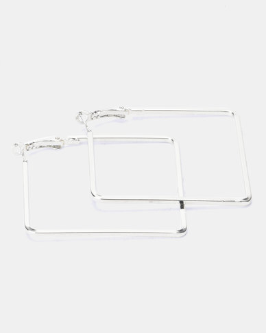 Joy Collectables Square Hoop Earrings Silver