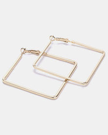 Joy Collectables Square Hoop Earrings Gold