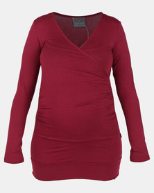 Cherry Melon Gauged Wrap Long Sleeve Top Burgundy