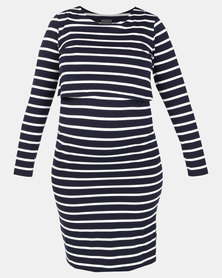 Cherry Melon Overlay Feeding Dress Navy/White