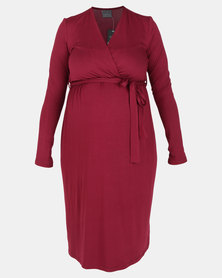 Cherry Melon Long Sleeve Mock Wrap Dress Burgundy