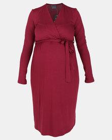 Cherry Melon Long Sleeve Mock Wrap Dress Burgundy