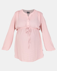 Cherry Melon Woven Mandarin Long Sleeve Shirt Dusty Pink