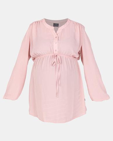 Cherry Melon Woven Mandarin Long Sleeve Shirt Dusty Pink
