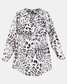 Cherry Melon Woven Manadrin Shirt Abstract Animal Print