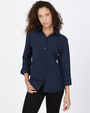 Utopia Stretch 3/4 Sleeve Shirt With Roll Up Navy