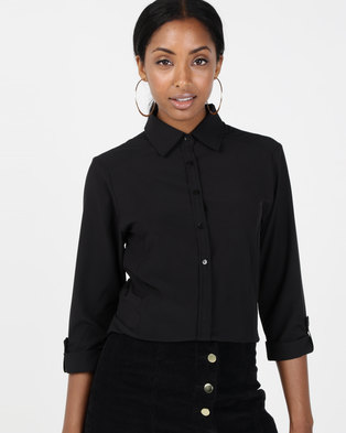 Utopia Stretch 3/4 Sleeve Shirt With Roll Up Black