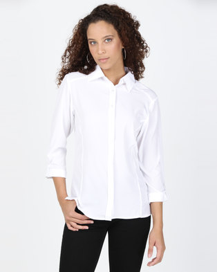 Utopia Stretch 3/4 Sleeve Shirt With Roll Up White