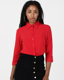 Utopia Stretch 3/4 Sleeve Shirt With Roll Up Red